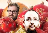 Heads of comedians among baubles
