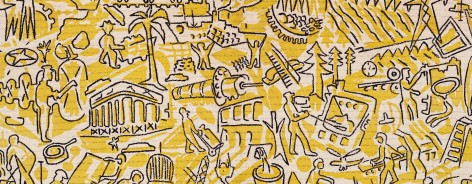 A yellow print with people and scenes