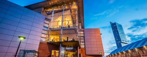The entrance to The Bridgewater Hall