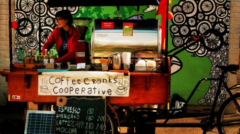 A coffee stand at Levenshulme Market