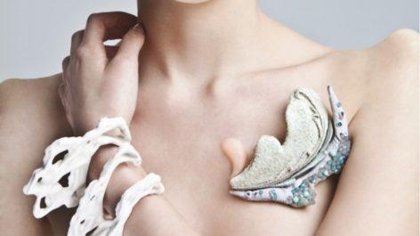 Woman wearing biological jewellery