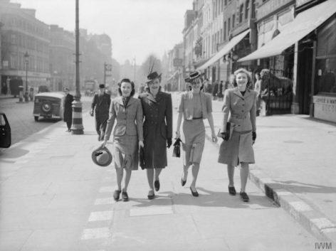Women walking in wartime