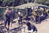 Bike stall by the lake
