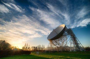 Lovell telescope in cloudy sky