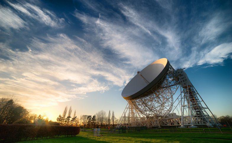 Lovell telescope in cloudy sky