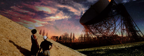 People looking at Lovell telescope