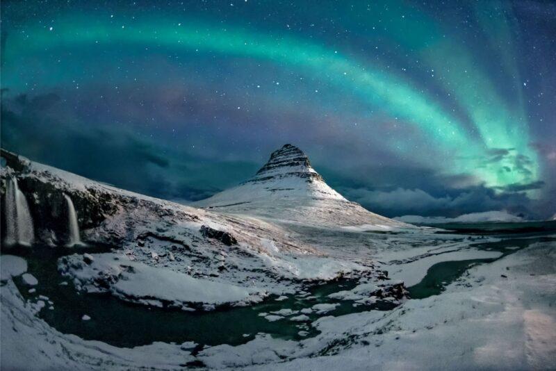 An incredible image of an aurora over a mountain top