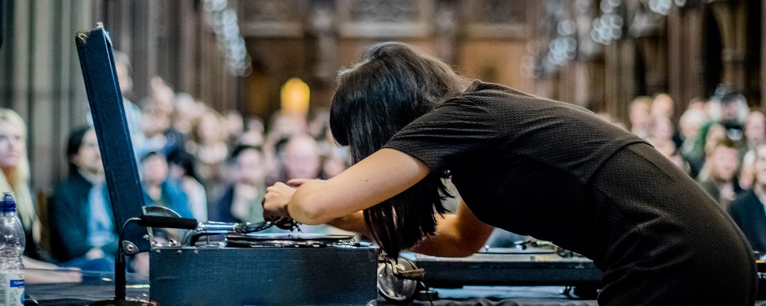 Naomi Kashiwagi at John Rylands Library for Manchester After Hours by Ben Williams