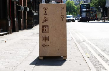 Image of signage outside PLY in Manchester's Northern Quarter