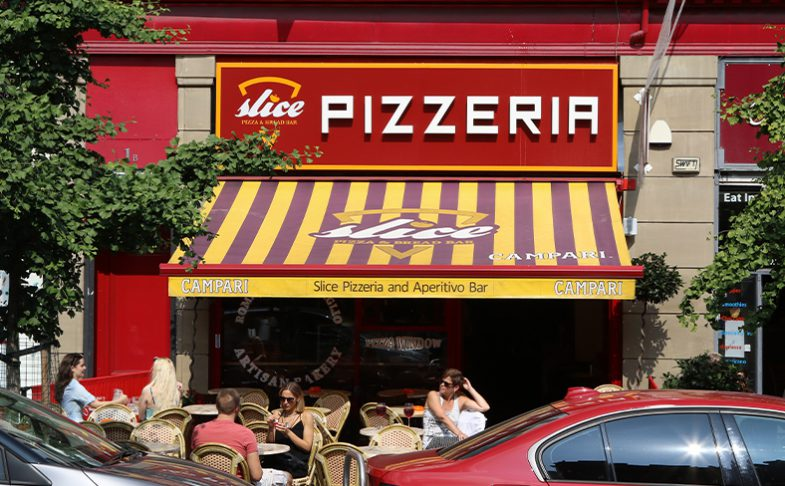Slice Pizzeria in Stevenson Square Manchester.