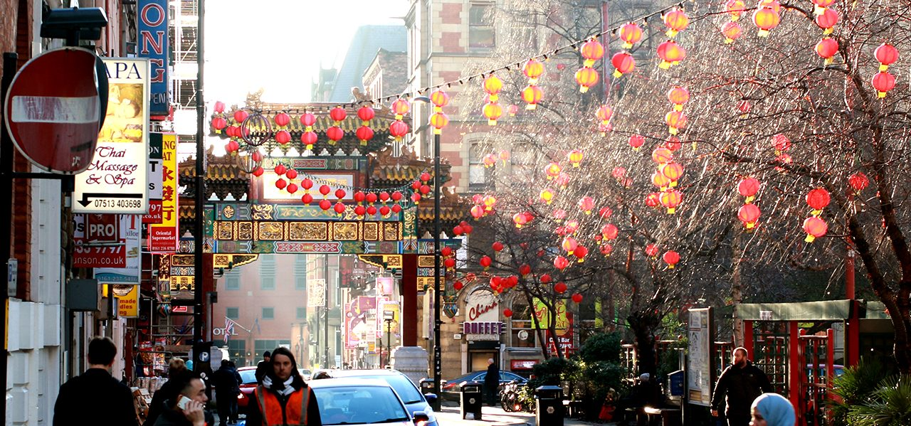 chinatown, manchester in sun by ben williams