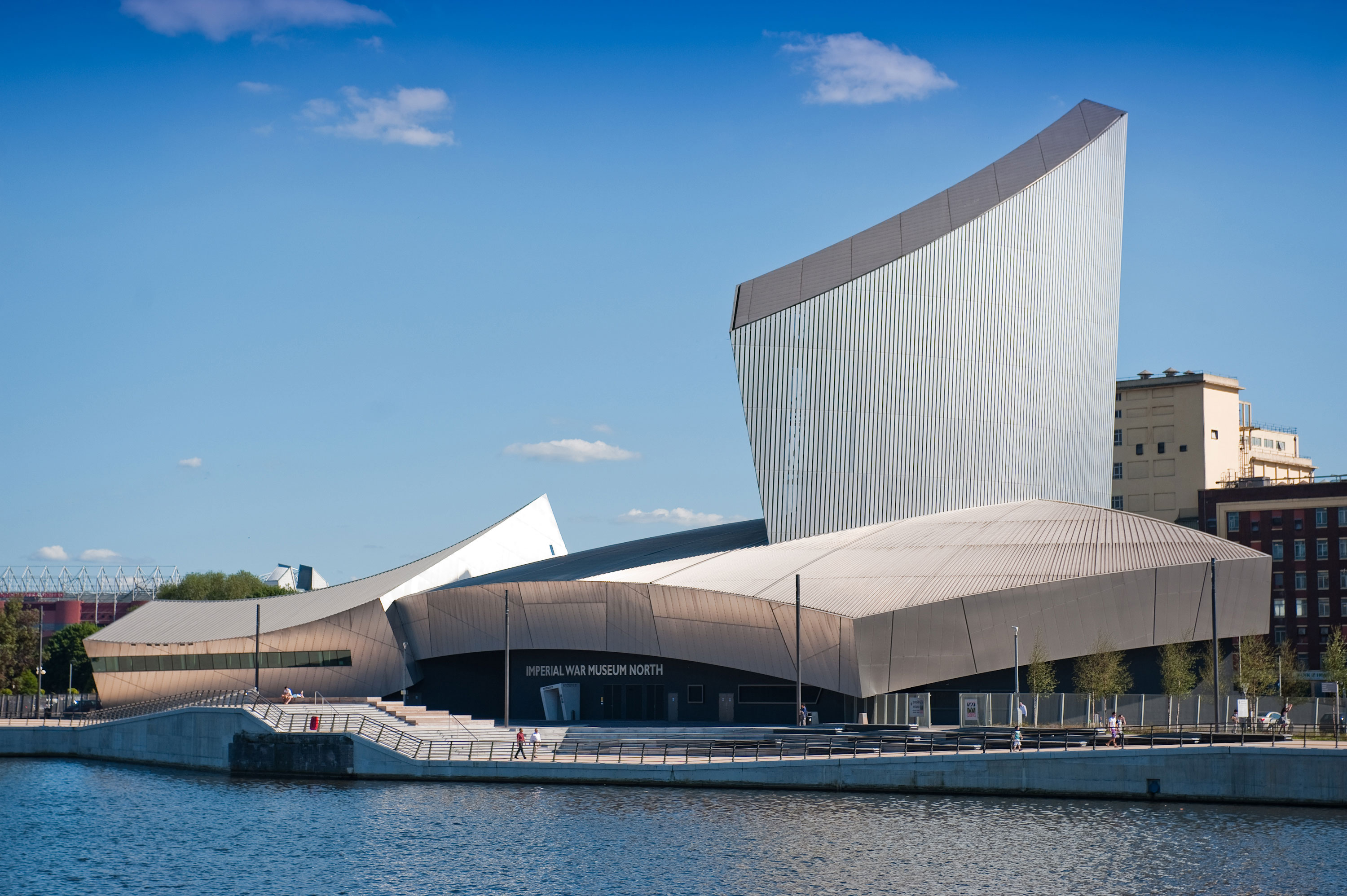 Imperial War Museum North exterior shot - host of story seekers