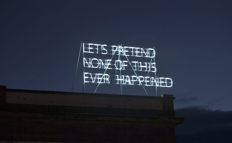 Tim Etchells, Lets Pretend (Large) (2014), installation view, Grundy Art Gallery. Photo: Phill Heywood, courtesy Grundy Art Gallery.
