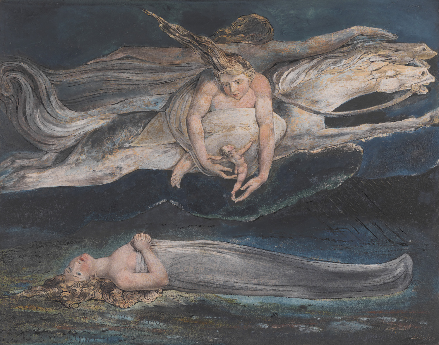 William Blake, 1757-1827. Pity c.1795. Tate. Presented by W. Graham Robertson 1939.