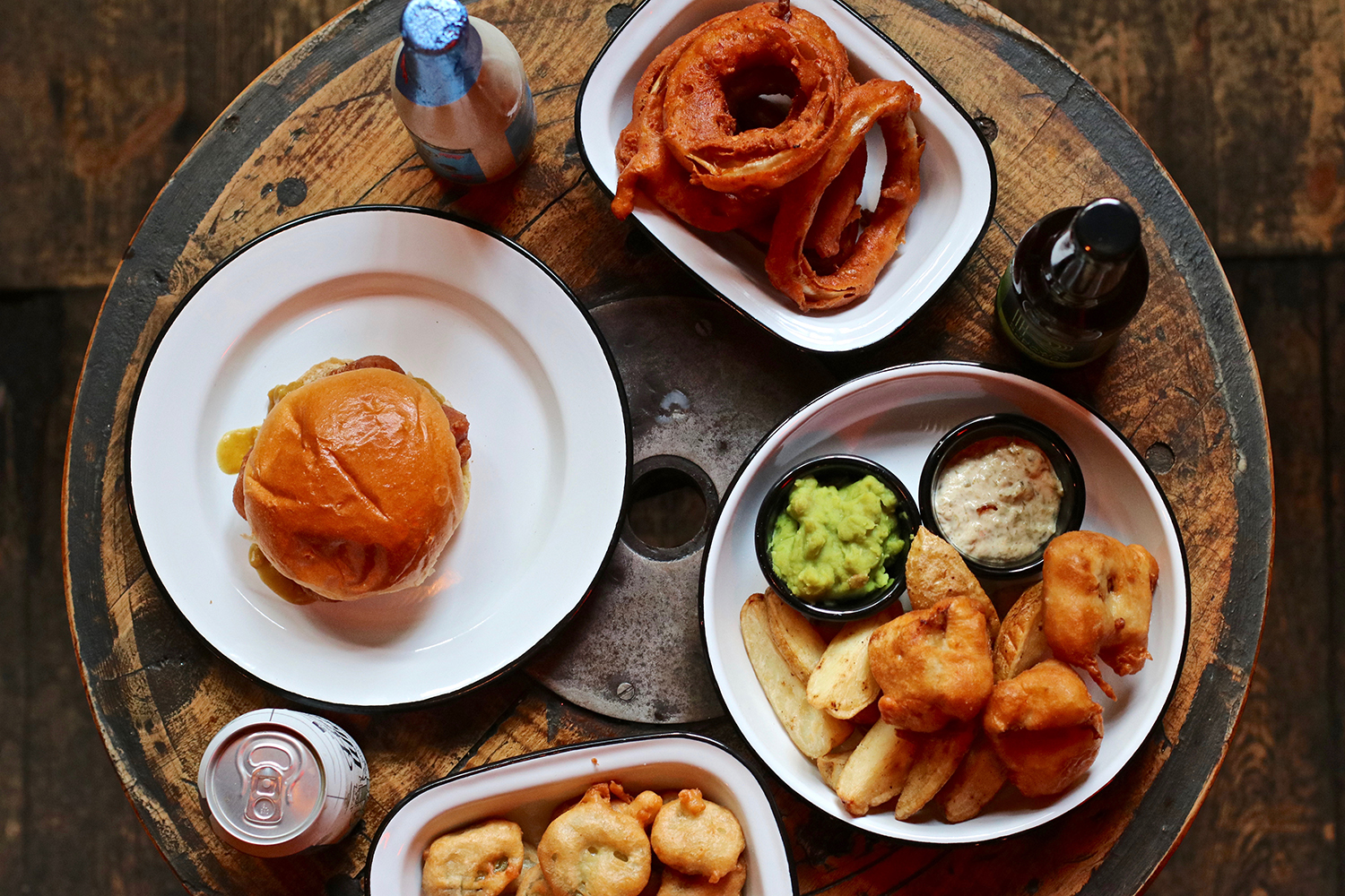 Burger, onion rings and sides