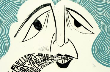 Poster with Margaret Thatcher saying Falklands Falklands Falklands by Peter Piech