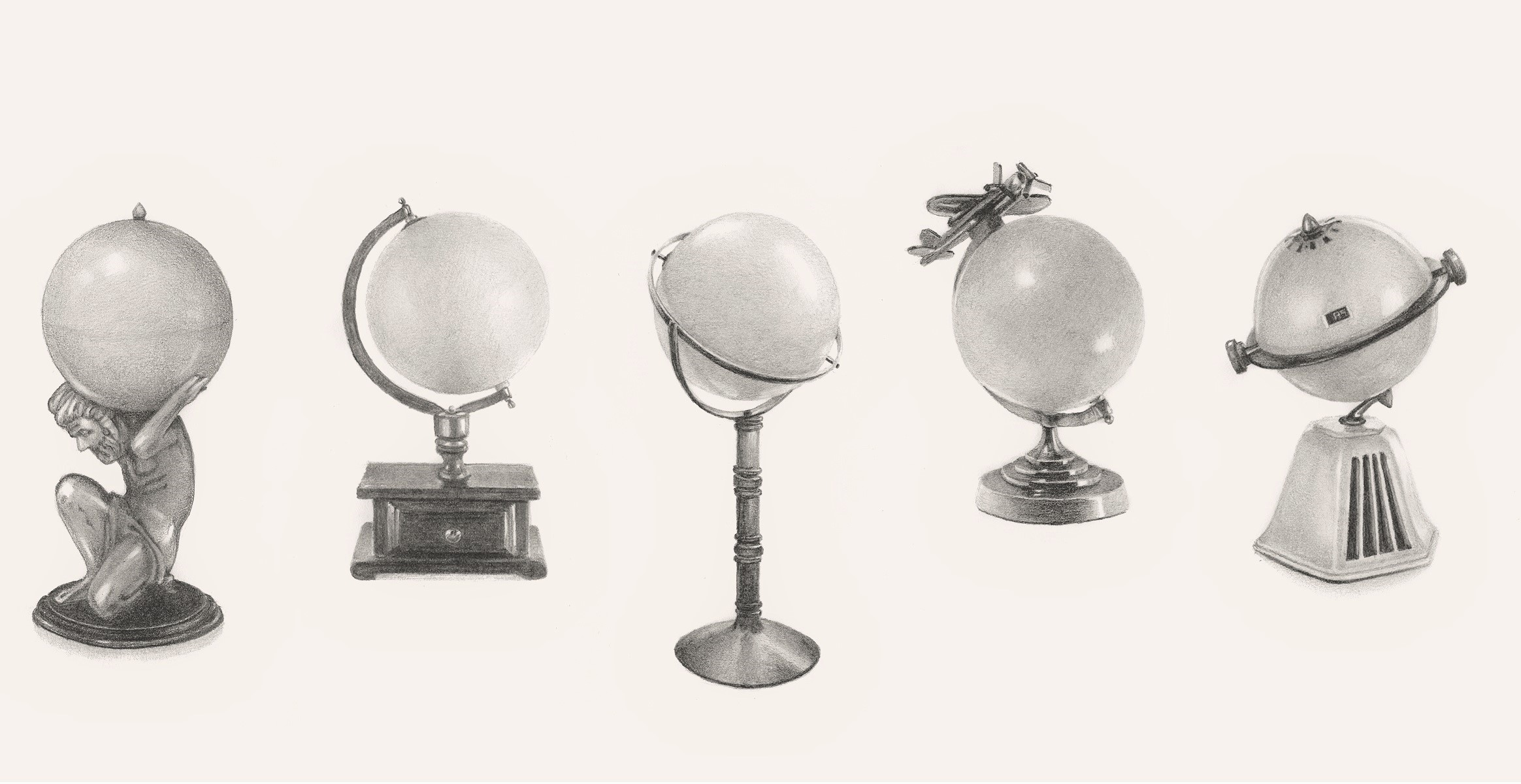 Sketch of four globes by Hondartza Fraga