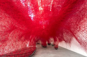 Chiharu Shiota –Uncertain Journey, 2016, Blainsouthern Berlin, Germany. Installation metal frames red wool. Photo Christian Gglaaser. Copyright Vgbildkunstbonn 2017 and the artist. Yorkshire Sculpture Park