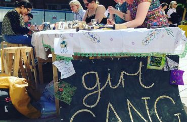 Protest bunting craft table