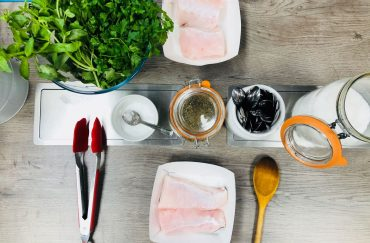 Cooking Together Italian Hake with Salsa verde ingredients
