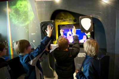 Children exploring the space centre after the telescope walking tours