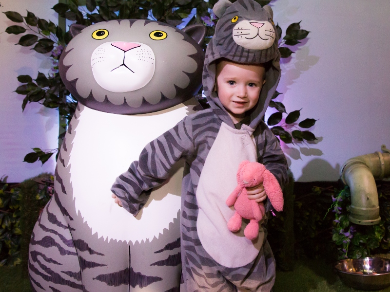 Boy dressed up as mog as part of The Tiger Who Came to Tea and the Adventures of Mog the Forgetful Cat exhibition