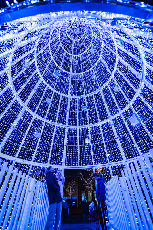 Inside the christmas tree - part of Christmas in Southport