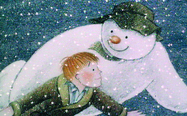 The snowman and the boy flying in the sky