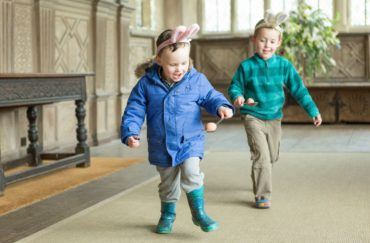 Two children running - part of Easter at Haddon Hall