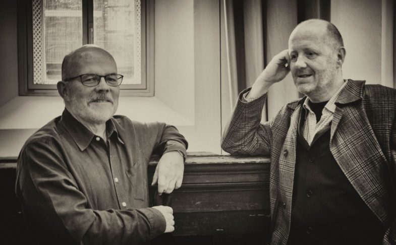 Carcanet exhibition: Carcanet poets Michael Schmidt and Michael Symmons Roberts.