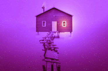 Dust - the outside of a house shown against a purple background