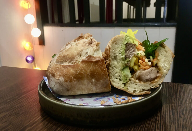 Image of Bánh mì on the restaurant table