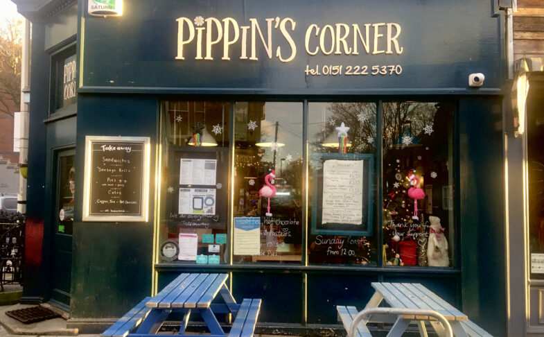 Exterior photo of Pippin's Corner cafe in Liverpool
