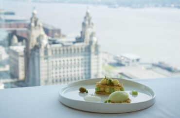 A table with a view of Liverpool at the fine dining restaurant Panoramic 34