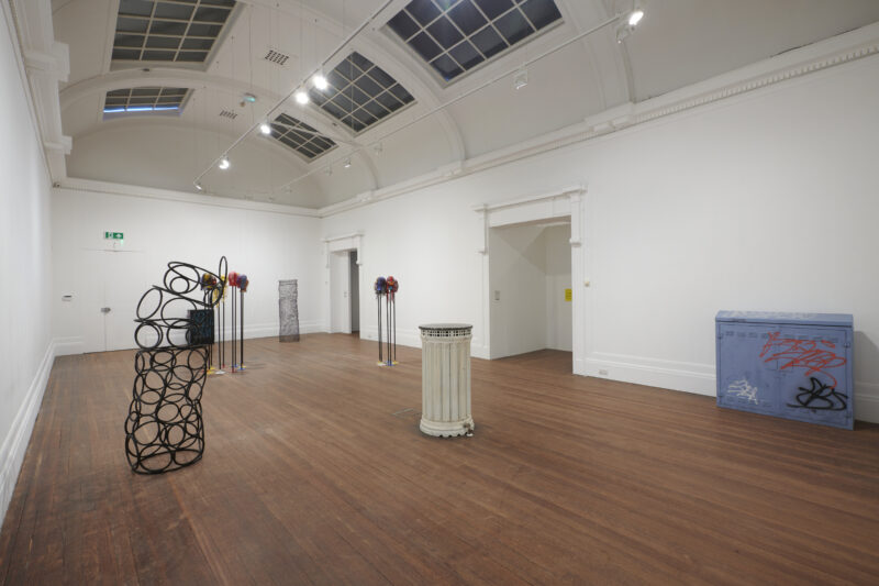 Remote Work Installation view at Grundy Art Gallery 27 March – 19 June 2021 Works by Nicola Dale, Kieran Leach, David Penny, Shy Bairns and Ciarán Wood.